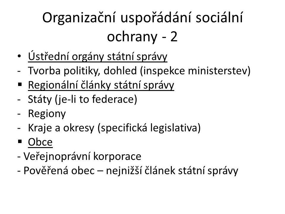 Organizační uspořádání sociální ochrany - 2