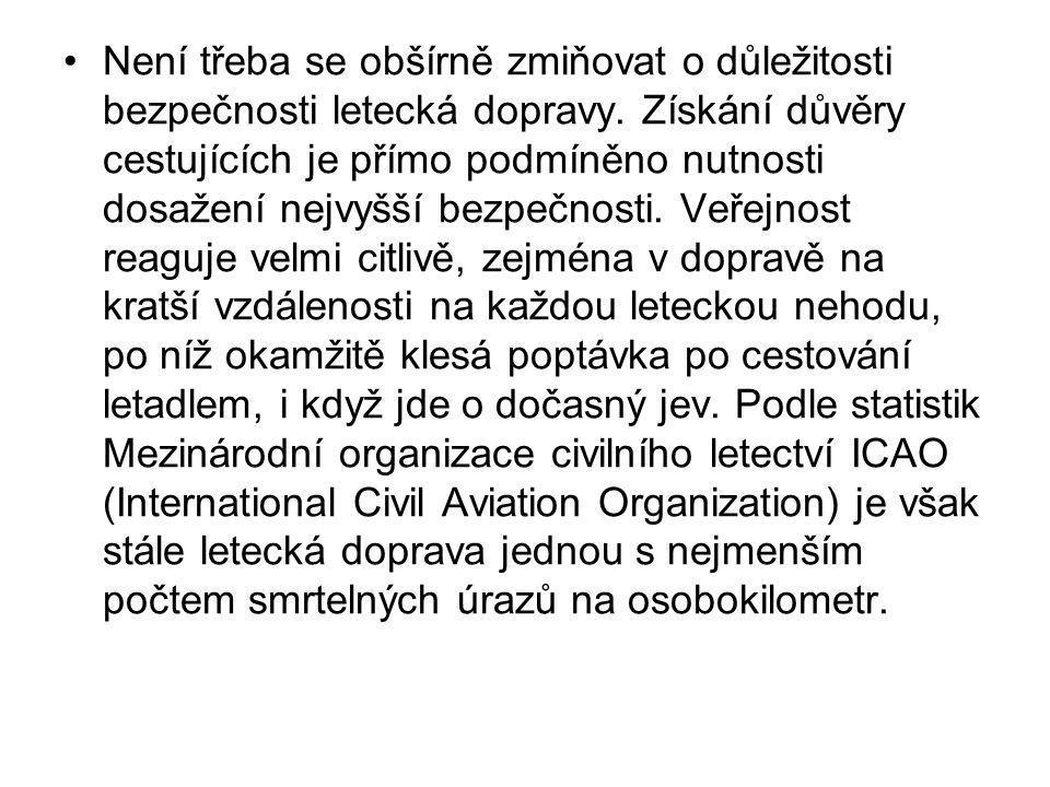 Není třeba se obšírně zmiňovat o důležitosti bezpečnosti letecká dopravy.