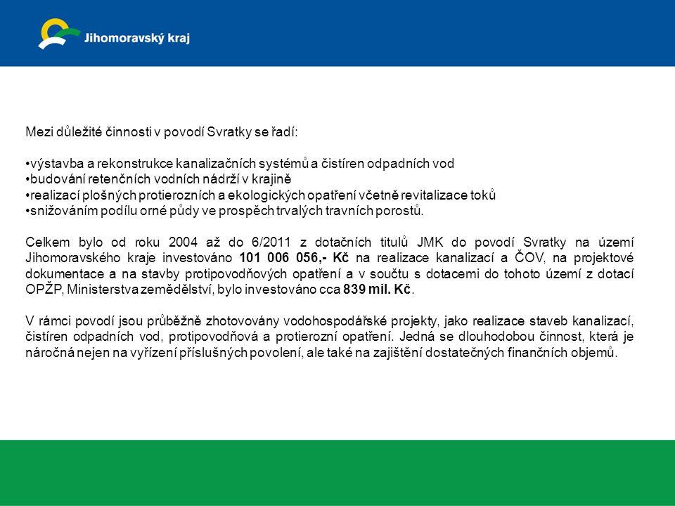Mezi důležité činnosti v povodí Svratky se řadí: