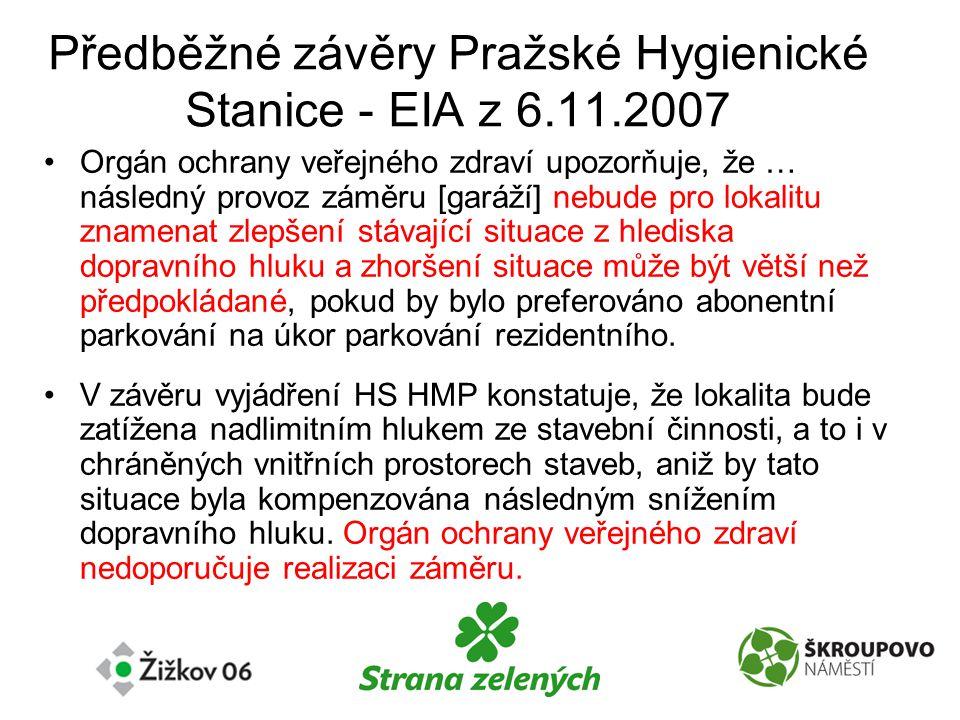 Předběžné závěry Pražské Hygienické Stanice - EIA z 6.11.2007