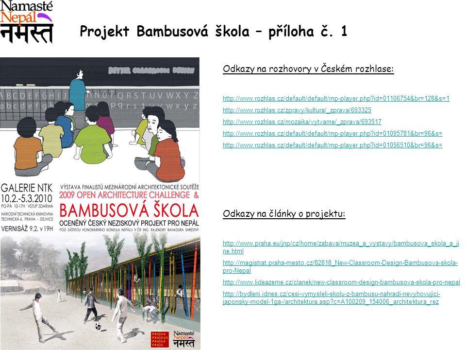 Projekt Bambusová škola – příloha č. 1