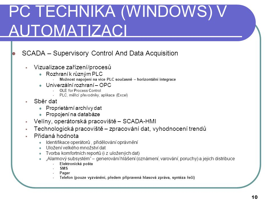 PC TECHNIKA (WINDOWS) V AUTOMATIZACI