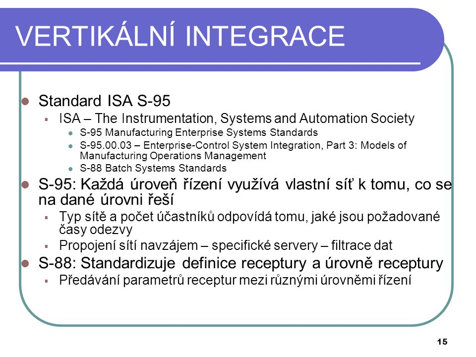 VERTIKÁLNÍ INTEGRACE Standard ISA S-95