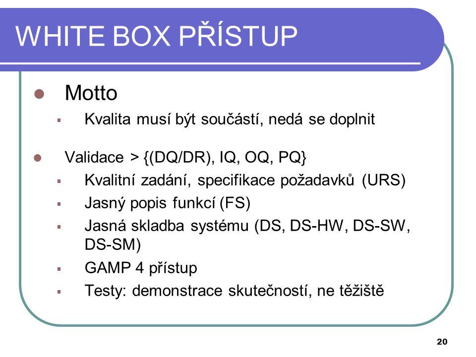WHITE BOX PŘÍSTUP Motto Kvalita musí být součástí, nedá se doplnit