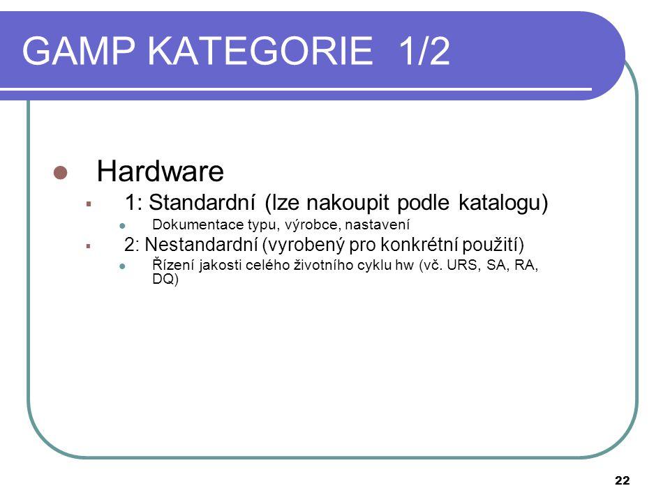 GAMP KATEGORIE 1/2 Hardware