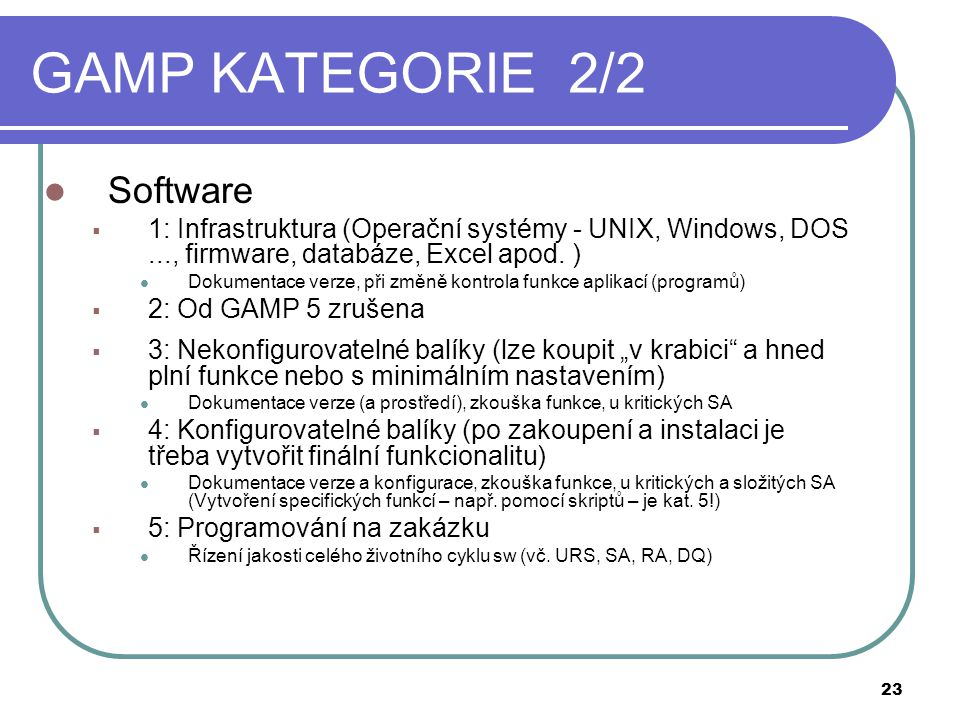 GAMP KATEGORIE 2/2 Software