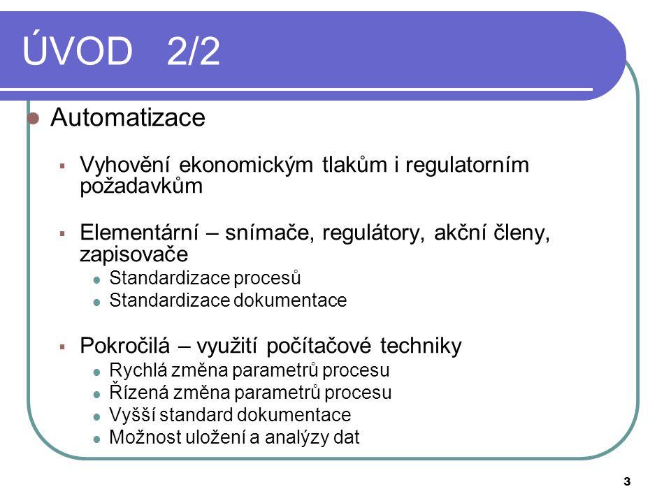ÚVOD 2/2 Automatizace. Vyhovění ekonomickým tlakům i regulatorním požadavkům. Elementární – snímače, regulátory, akční členy, zapisovače.