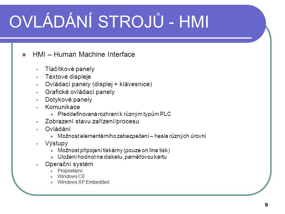 OVLÁDÁNÍ STROJŮ - HMI HMI – Human Machine Interface Tlačítkové panely