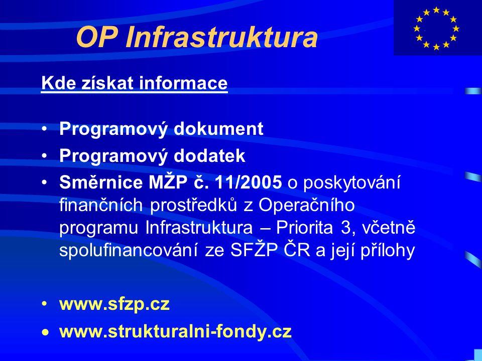 OP Infrastruktura Kde získat informace Programový dokument