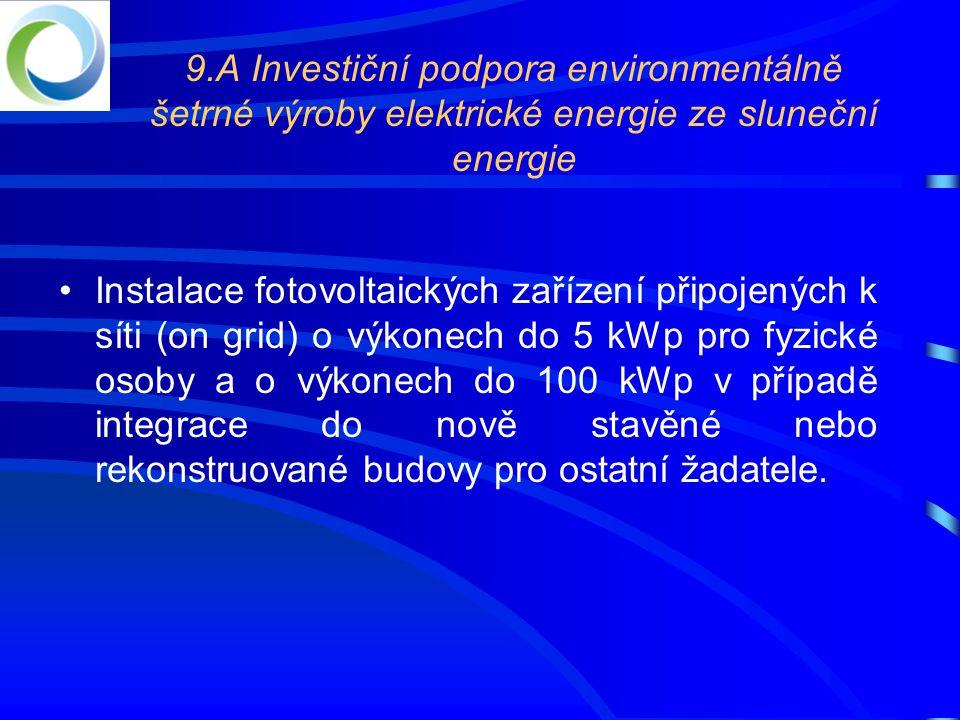 9.A Investiční podpora environmentálně šetrné výroby elektrické energie ze sluneční energie