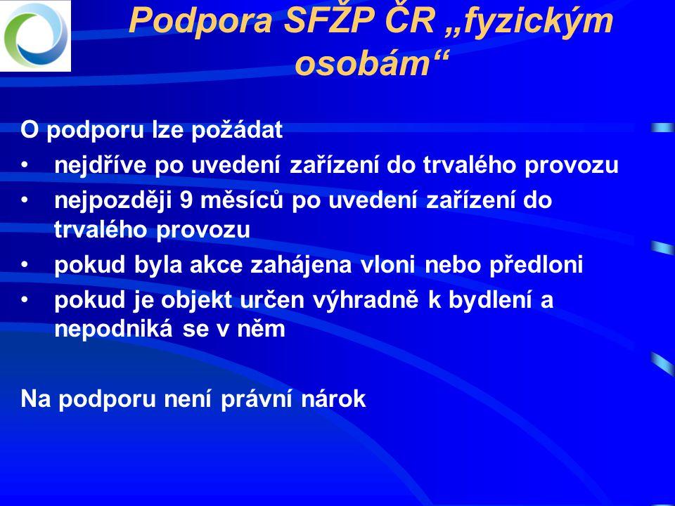 "Podpora SFŽP ČR ""fyzickým osobám"