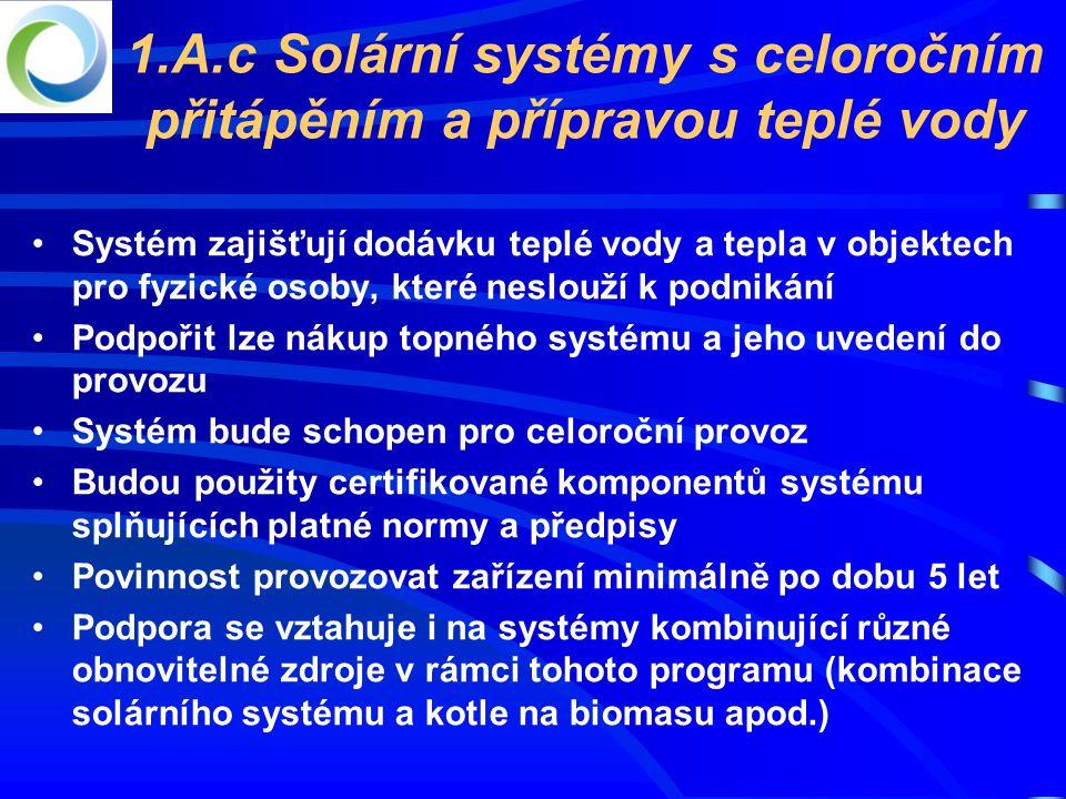 1.A.c Solární systémy s celoročním přitápěním a přípravou teplé vody