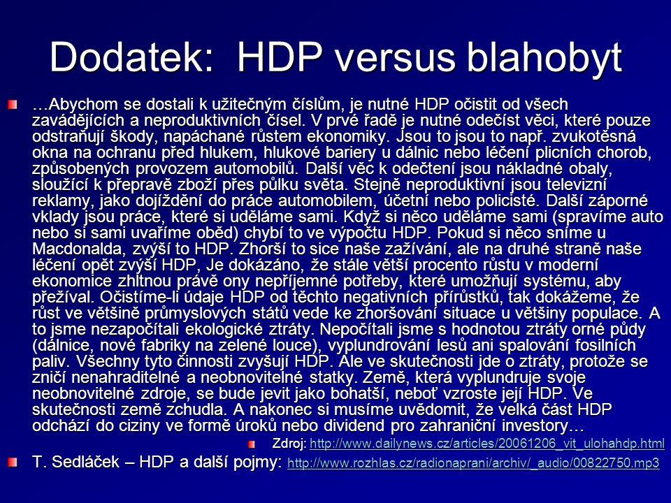 Dodatek: HDP versus blahobyt