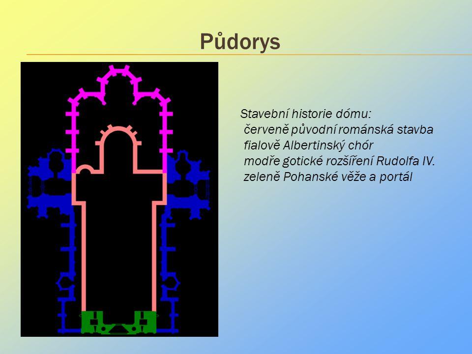 Půdorys . Stavební historie dómu: červeně původní románská stavba