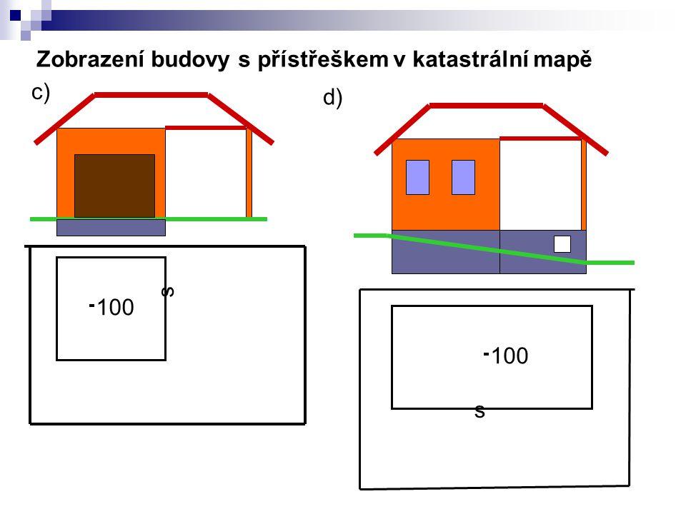 Zobrazení budovy s přístřeškem v katastrální mapě