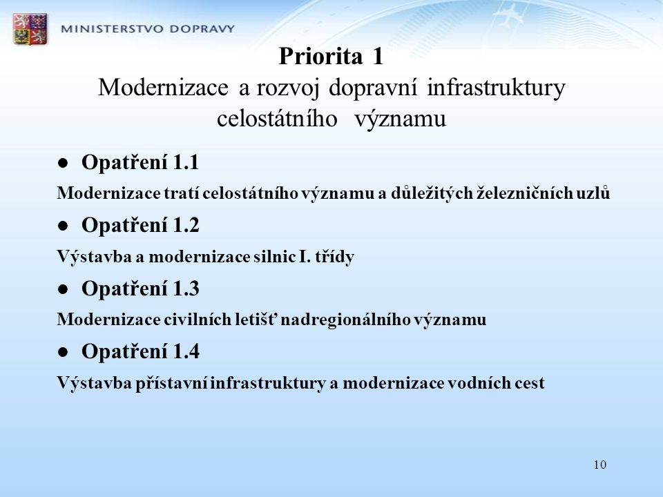 Priorita 1 Modernizace a rozvoj dopravní infrastruktury celostátního významu