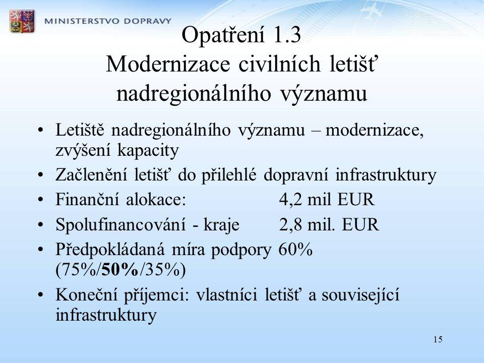 Opatření 1.3 Modernizace civilních letišť nadregionálního významu