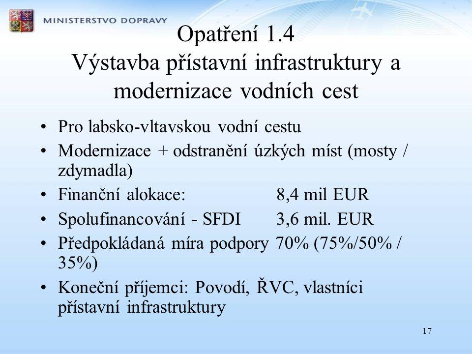 Opatření 1.4 Výstavba přístavní infrastruktury a modernizace vodních cest
