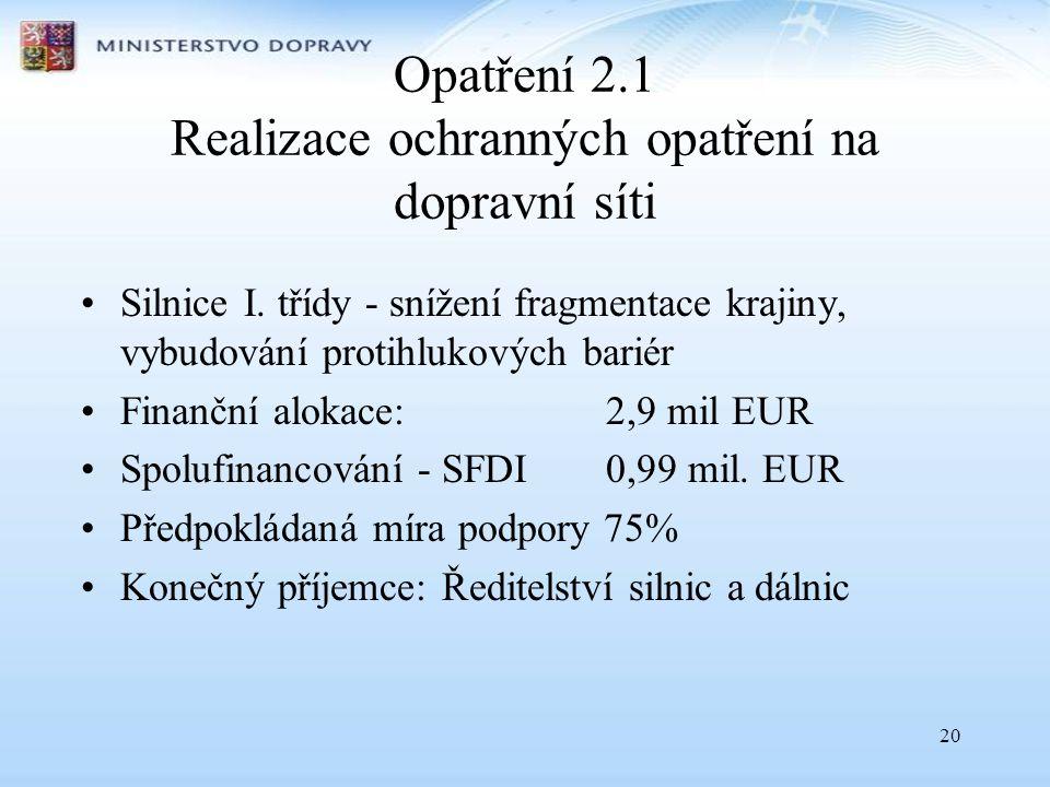 Opatření 2.1 Realizace ochranných opatření na dopravní síti