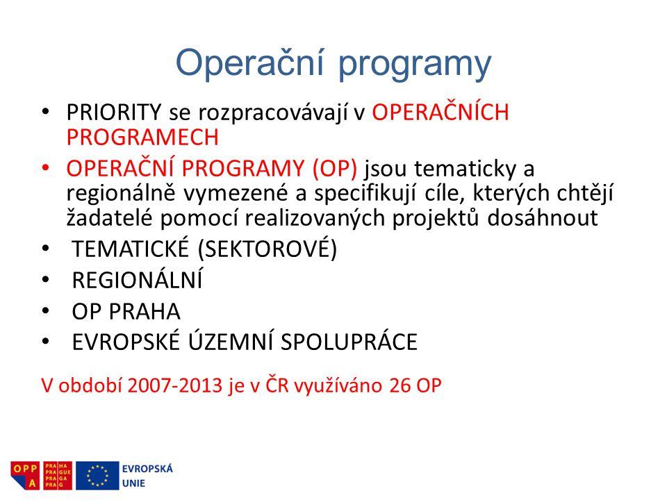 Operační programy PRIORITY se rozpracovávají v OPERAČNÍCH PROGRAMECH