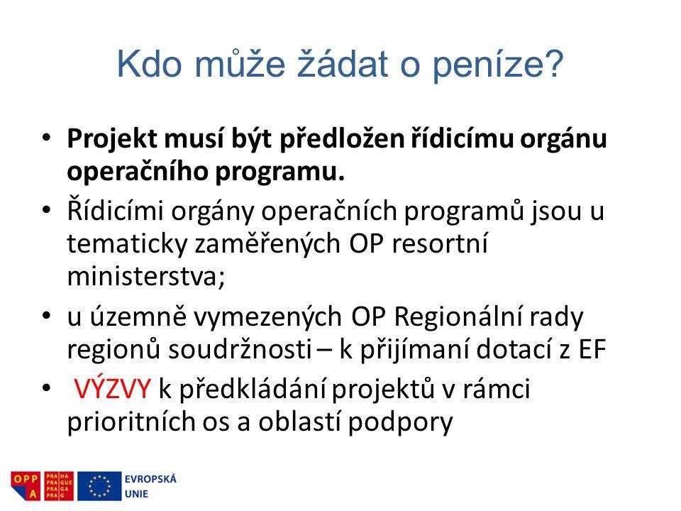 Kdo může žádat o peníze Projekt musí být předložen řídicímu orgánu operačního programu.