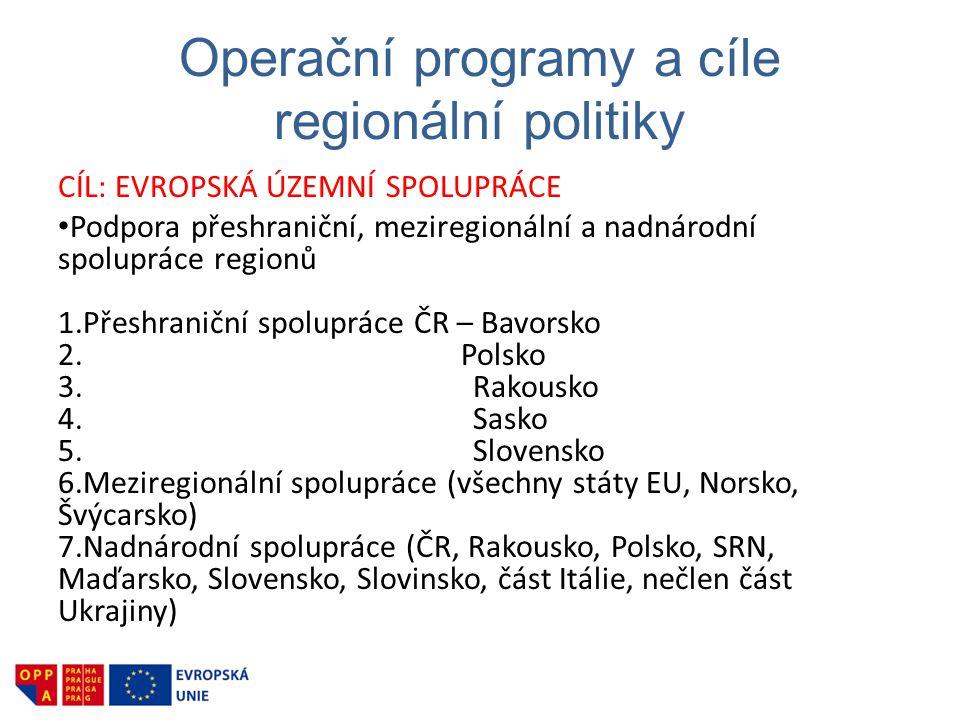 Operační programy a cíle regionální politiky