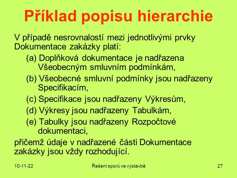 Příklad popisu hierarchie