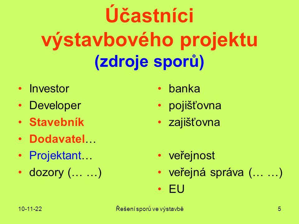 Účastníci výstavbového projektu (zdroje sporů)