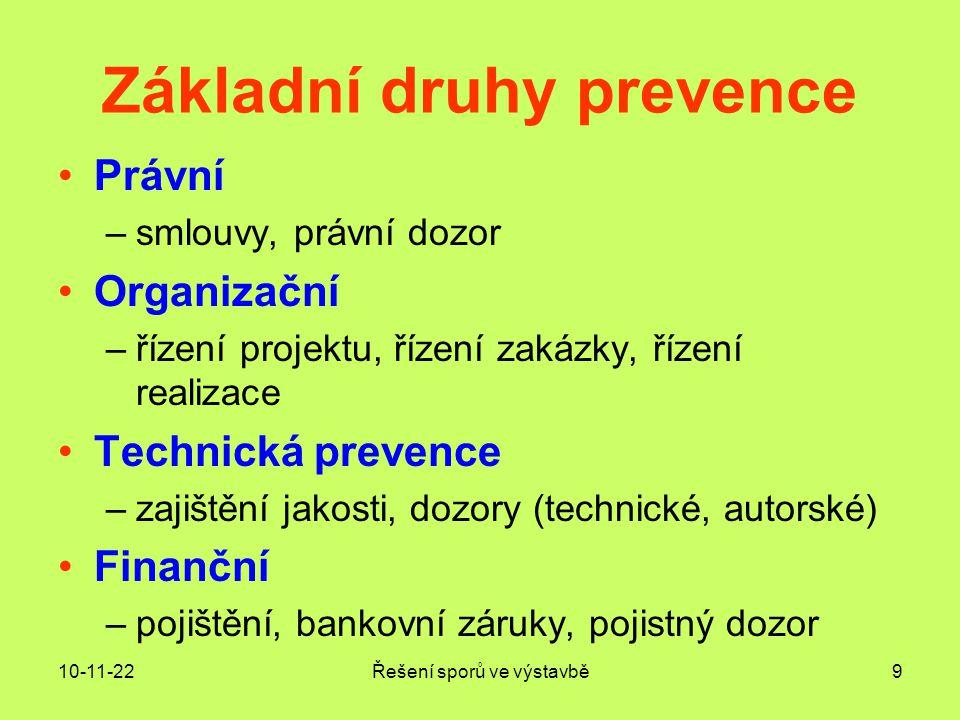 Základní druhy prevence