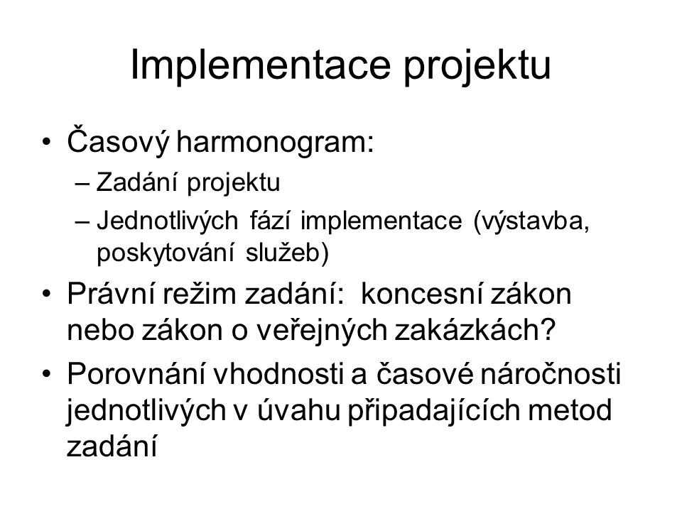 Implementace projektu