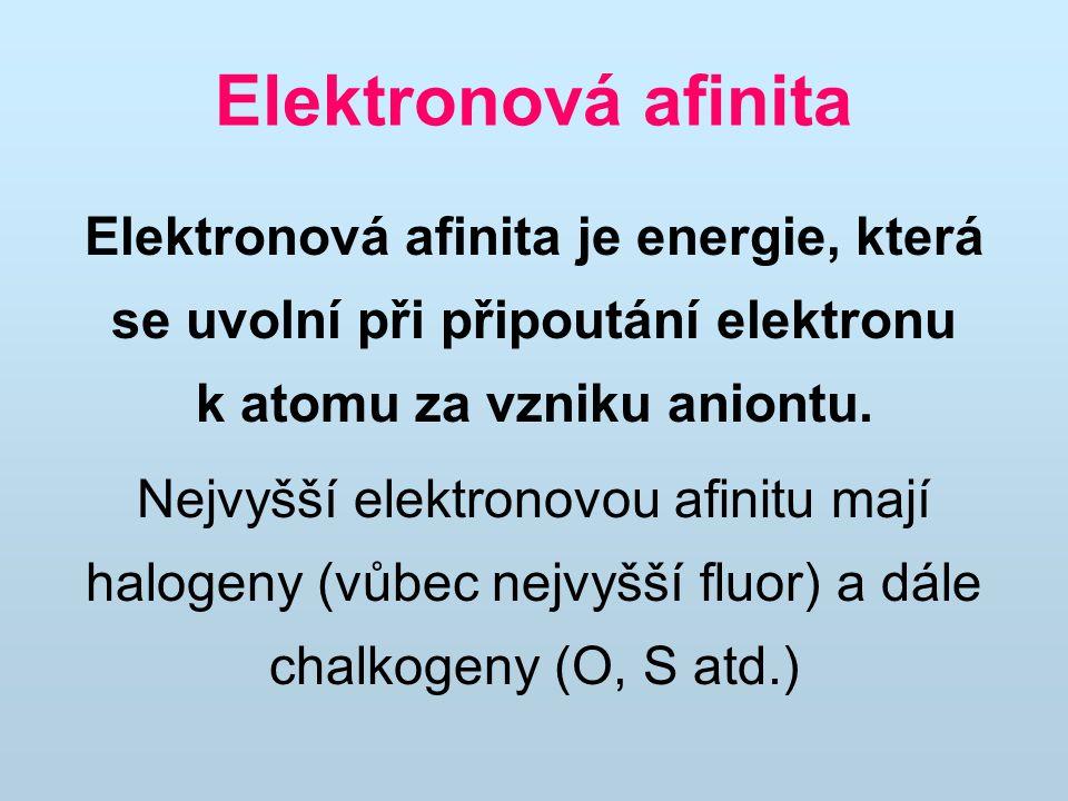 Elektronová afinita Elektronová afinita je energie, která se uvolní při připoutání elektronu k atomu za vzniku aniontu.