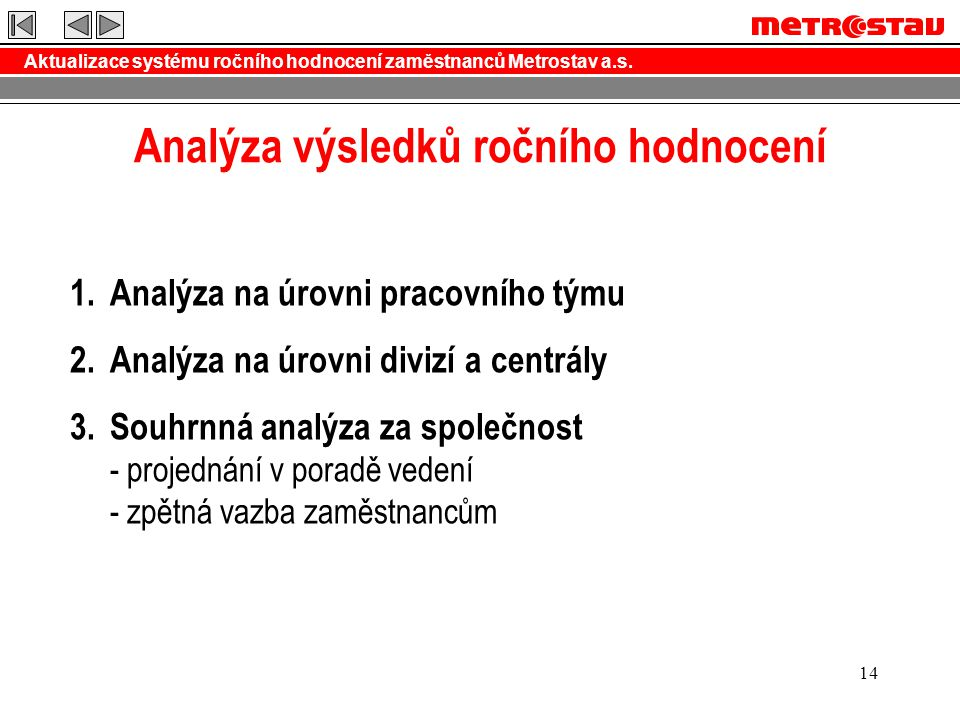 Analýza výsledků ročního hodnocení