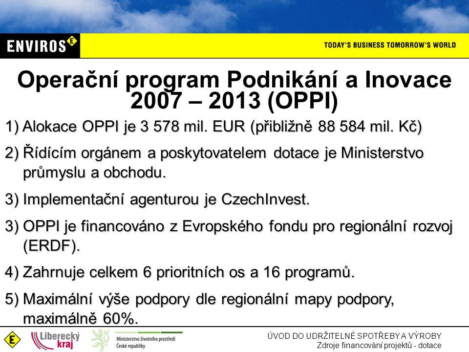 Operační program Podnikání a Inovace 2007 – 2013 (OPPI)