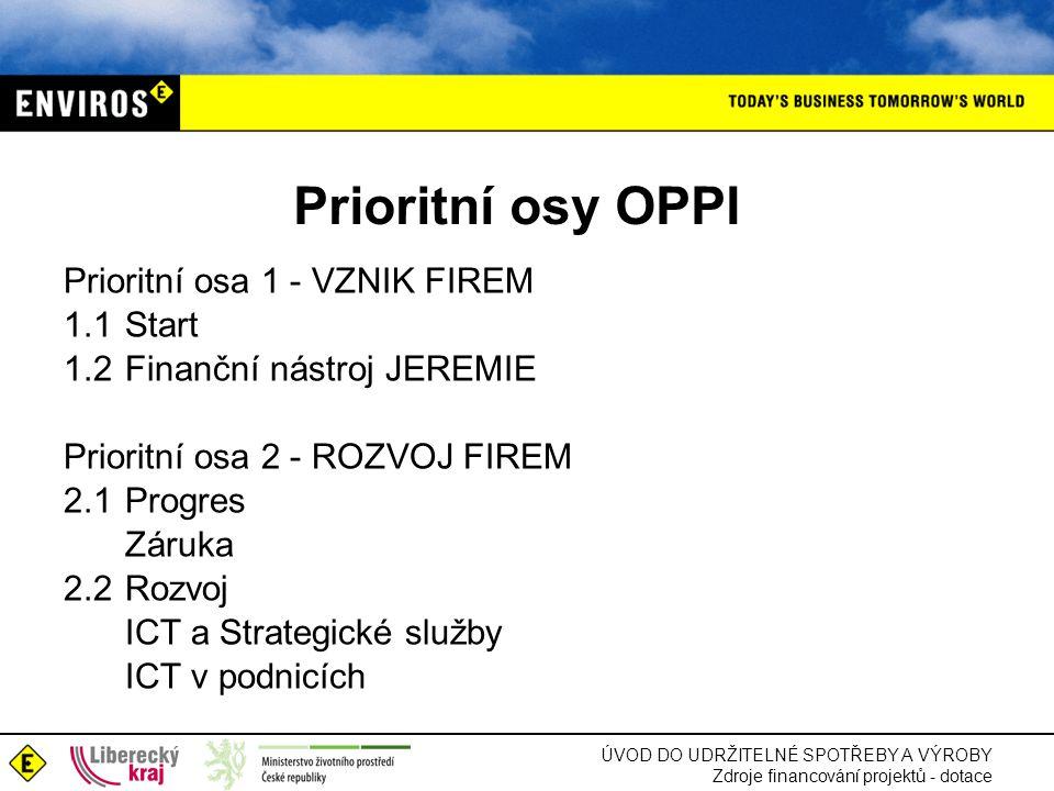 Prioritní osy OPPI Prioritní osa 1 - VZNIK FIREM 1.1 Start