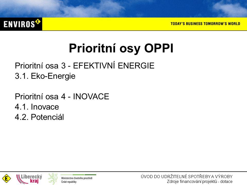 Prioritní osy OPPI Prioritní osa 3 - EFEKTIVNÍ ENERGIE