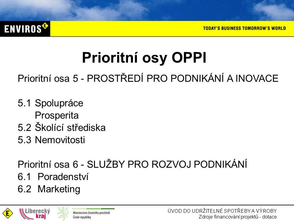 Prioritní osy OPPI Prioritní osa 5 - PROSTŘEDÍ PRO PODNIKÁNÍ A INOVACE