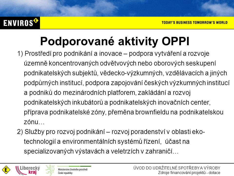 Podporované aktivity OPPI