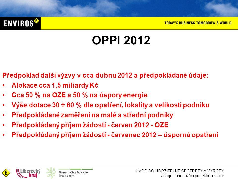 OPPI 2012 Předpoklad další výzvy v cca dubnu 2012 a předpokládané údaje: Alokace cca 1,5 miliardy Kč.