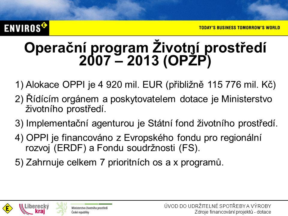 Operační program Životní prostředí 2007 – 2013 (OPŽP)