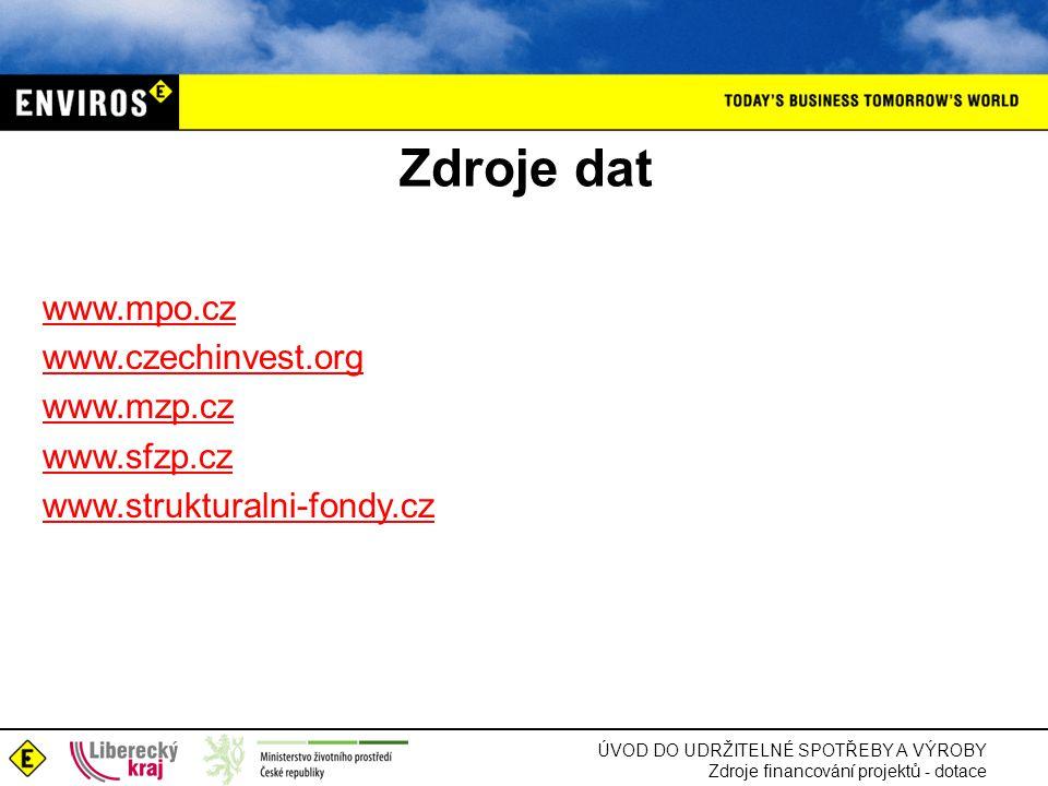 Zdroje dat www.mpo.cz www.czechinvest.org www.mzp.cz www.sfzp.cz