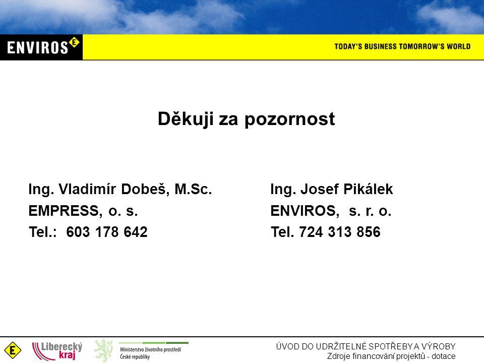 Děkuji za pozornost Ing. Vladimír Dobeš, M.Sc. Ing. Josef Pikálek EMPRESS, o. s. ENVIROS, s. r. o. Tel.: 603 178 642 Tel. 724 313 856.