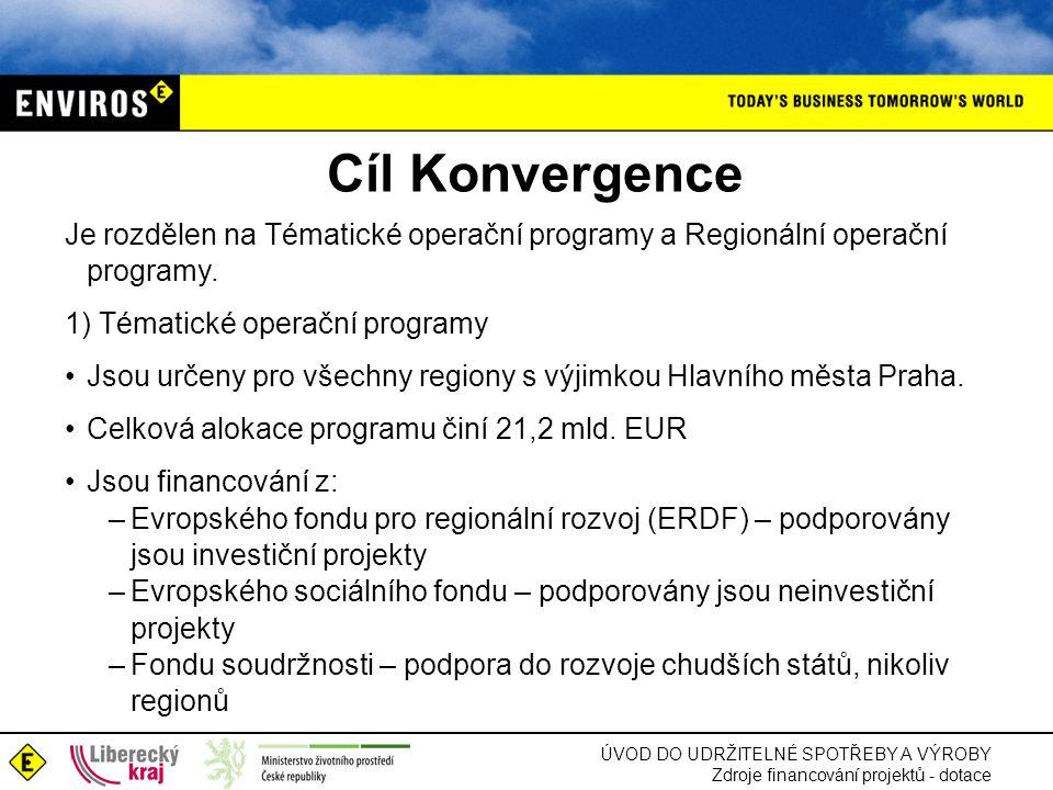 Cíl Konvergence Je rozdělen na Tématické operační programy a Regionální operační programy. 1) Tématické operační programy.