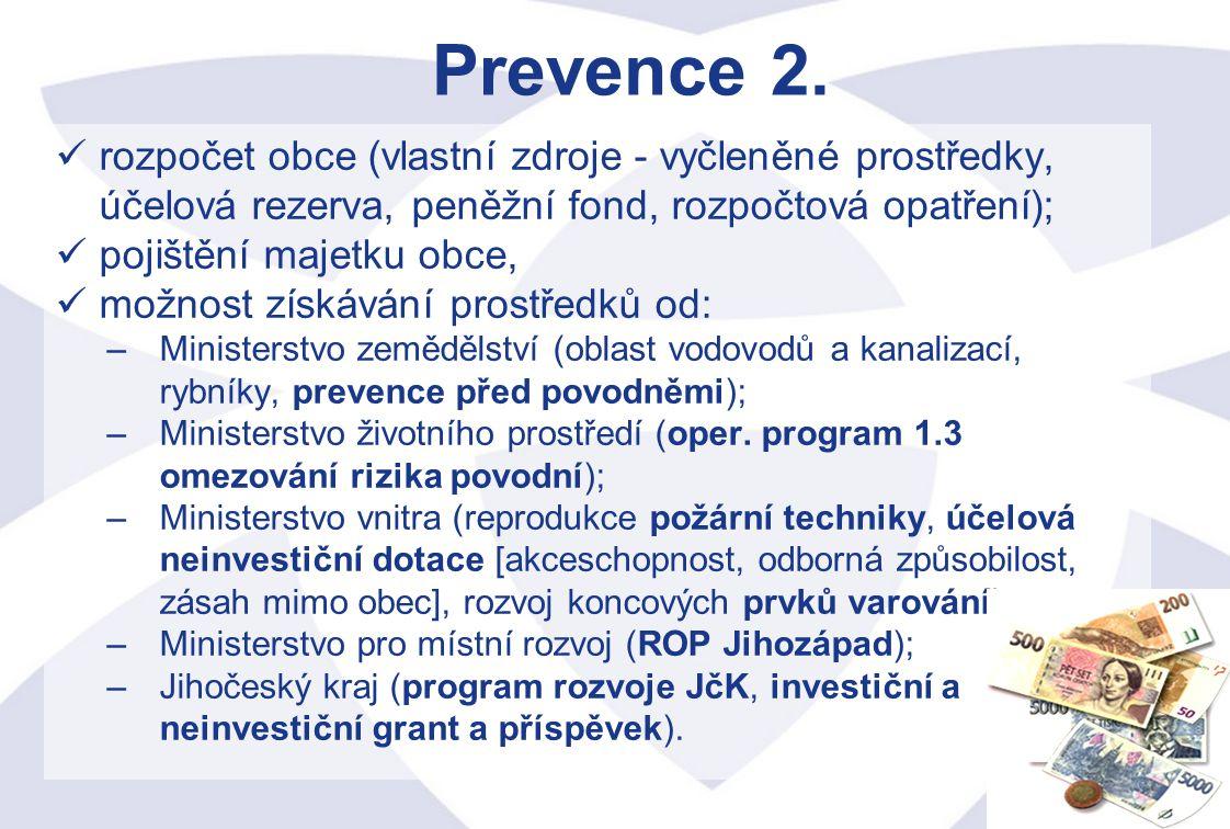 Prevence 2. rozpočet obce (vlastní zdroje - vyčleněné prostředky, účelová rezerva, peněžní fond, rozpočtová opatření);
