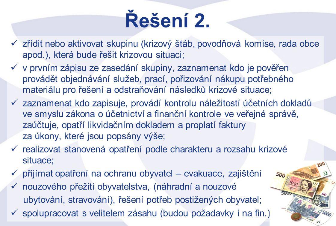 Řešení 2. zřídit nebo aktivovat skupinu (krizový štáb, povodňová komise, rada obce apod.), která bude řešit krizovou situaci;