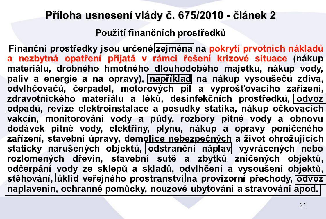 Příloha usnesení vlády č. 675/2010 - článek 2