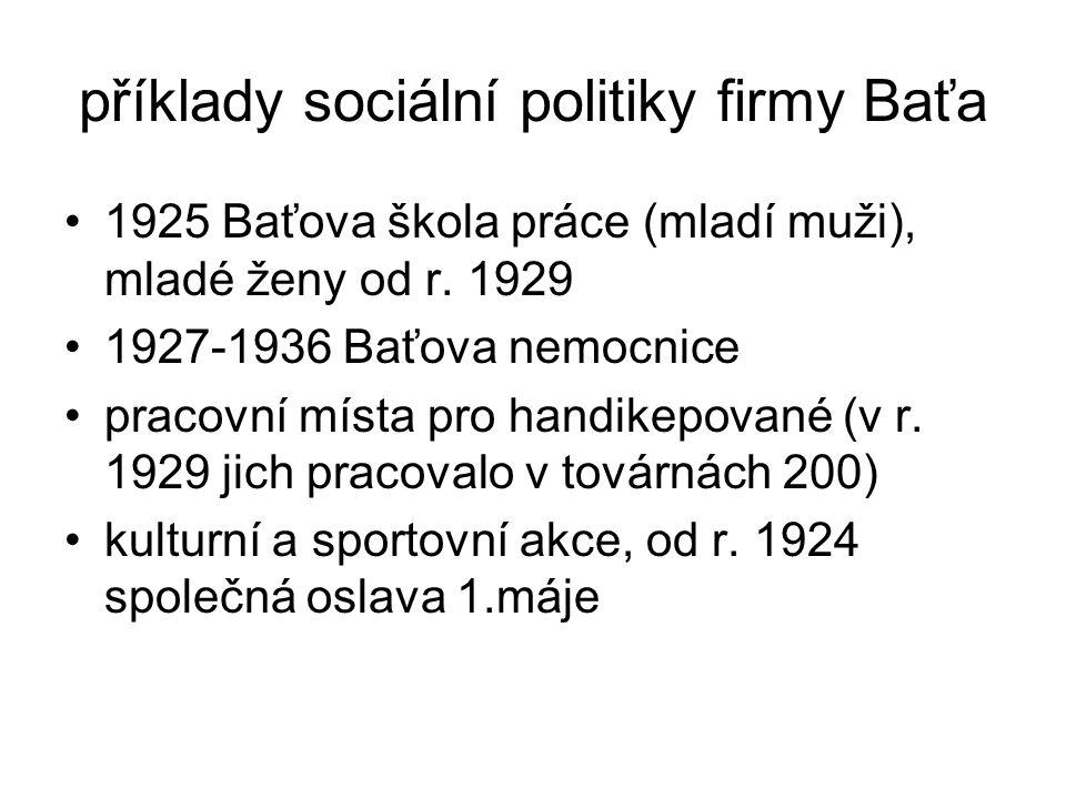 příklady sociální politiky firmy Baťa