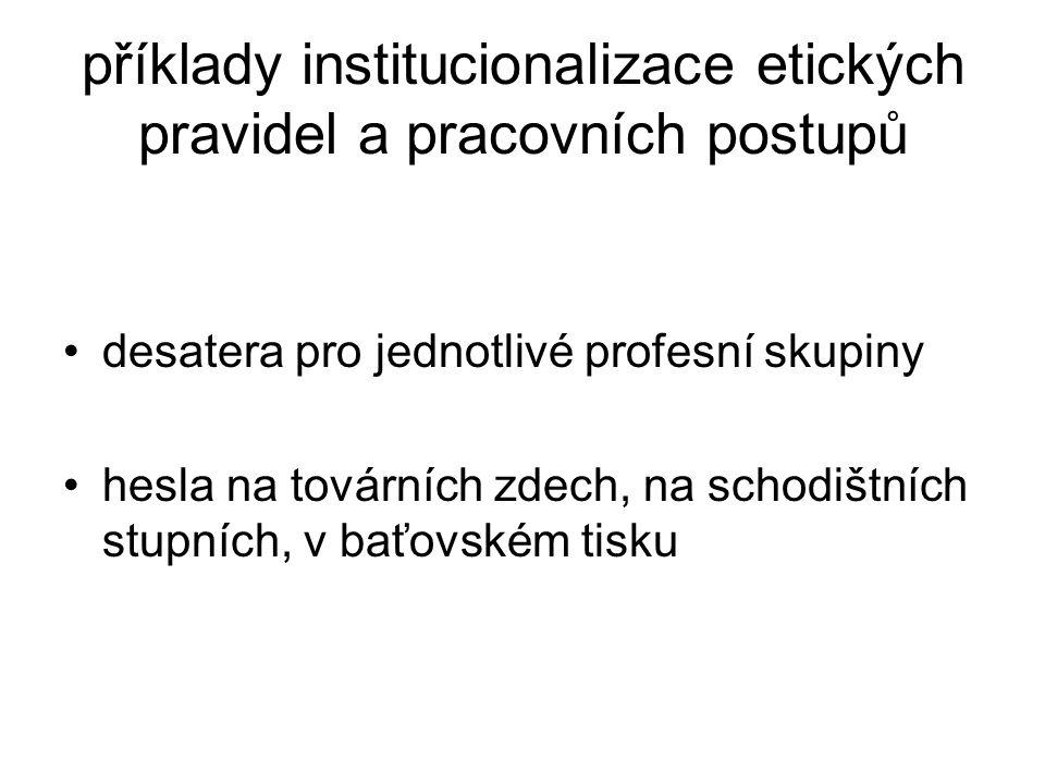 příklady institucionalizace etických pravidel a pracovních postupů