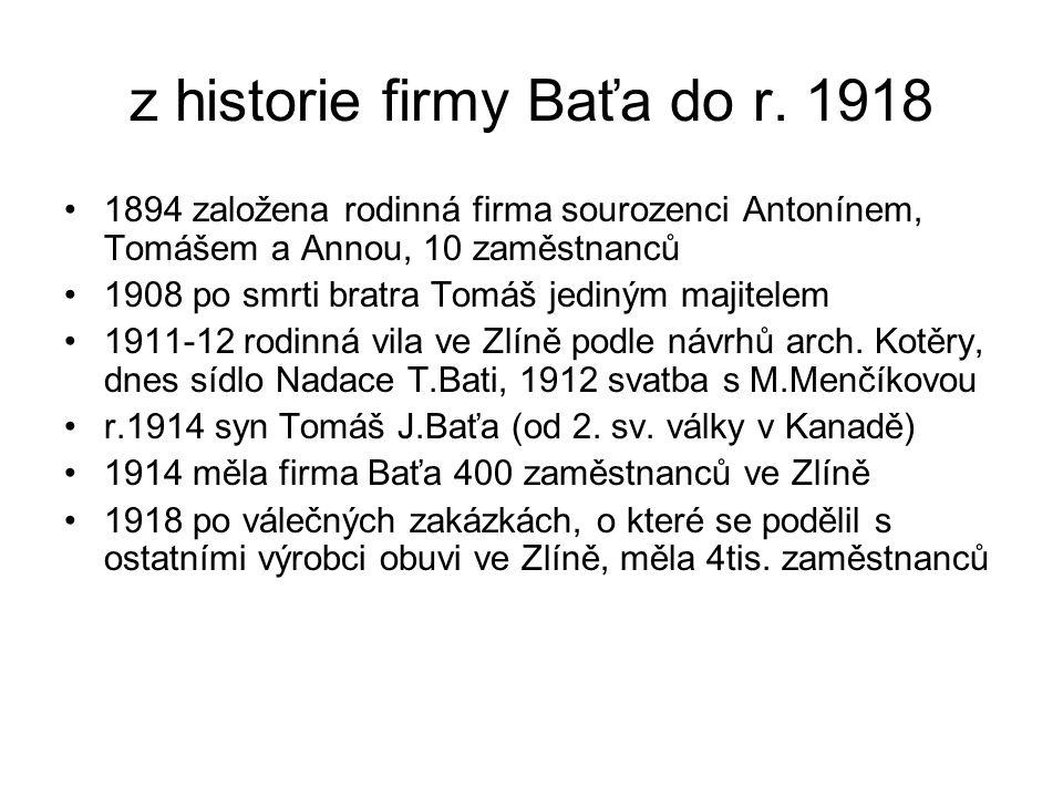 z historie firmy Baťa do r. 1918