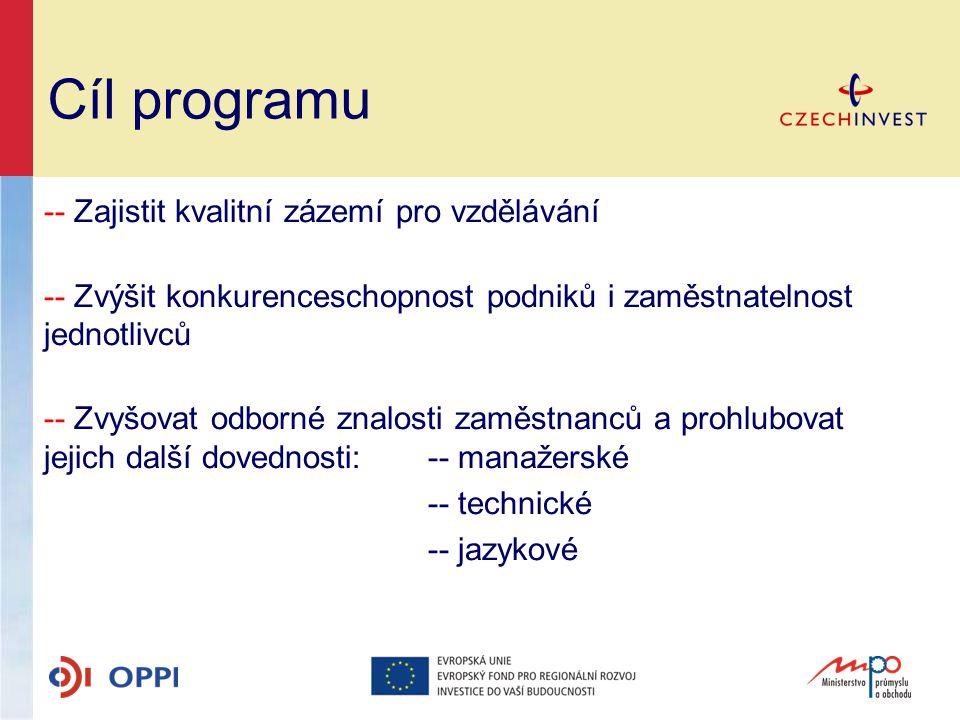 Cíl programu -- Zajistit kvalitní zázemí pro vzdělávání