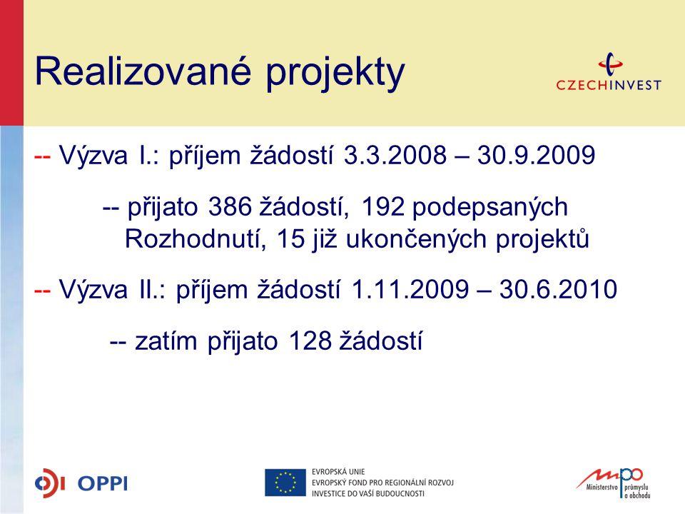Realizované projekty -- Výzva I.: příjem žádostí 3.3.2008 – 30.9.2009